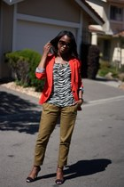 red Zara blazer - off white Urban Outfitters blouse - army green Topshop pants
