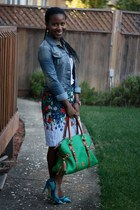blue Free Style jacket - green Dooney & Bourke bag - blue Anthropologie skirt