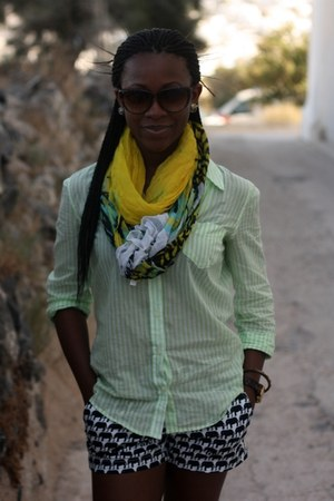 lime green Old Navy shirt - yellow unknown scarf - black banana republic shorts