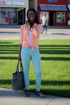 aquamarine Gap jeans - silver Michael Kors bag - peach H&M top