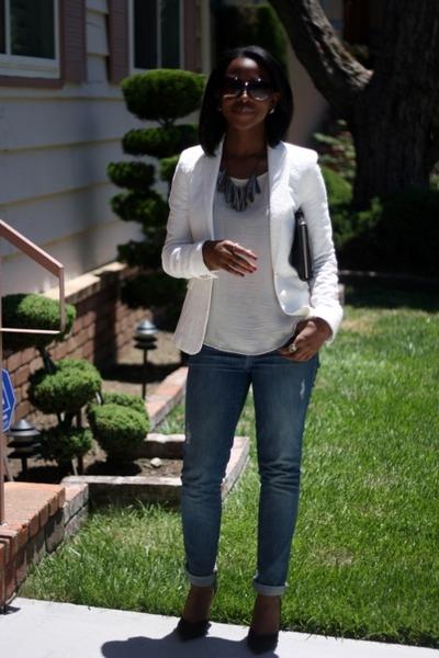 white Zara blazer - blue Current Elliott jeans - white Zara top