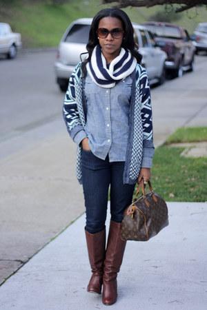 navy Gap jeans - brown Dolce Vita boots - blue Gap shirt - navy Gap scarf