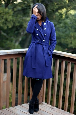 blue Express coat - black Nine West boots