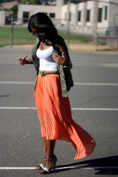 light orange Forever 21 skirt - army green Old Navy vest