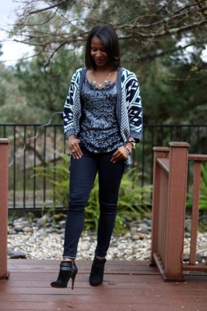 navy Gap jeans - black Nine West boots - blue TJ Maxx cardigan - navy J Crew top