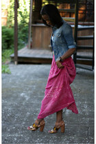 hot pink thrifted vintage skirt - light blue Free Style Revolution jacket