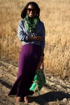 green unknown brand scarf - blue J Crew shirt - green Dooney & Bourke bag