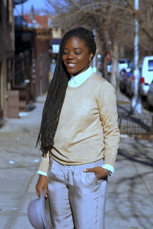 H&M hat - Joe Fresh sweater - Zara pants