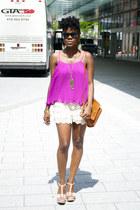 coach bag - Dor LDor shorts - asos sandals - Dor LDor top - Forever 21 accessori