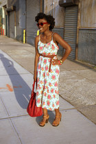 floral Forever 21 dress - red Zara bag - H&M clogs - Etsy earrings