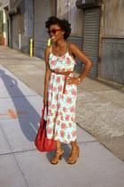 floral Forever 21 dress - red Zara bag - H&M clogs - Etsy earrings