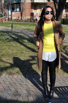 black Zara leggings - yellow madewell sweater - white Anthropologie shirt