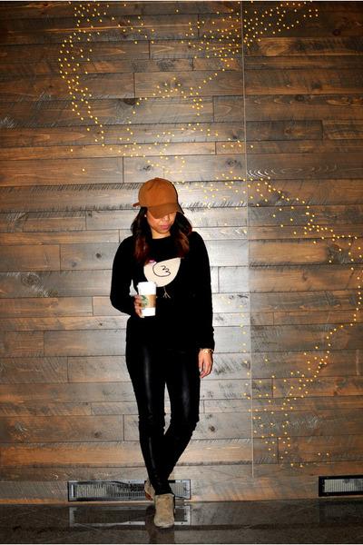 camel sam edelman boots - navy JCrew sweater - black Zara leggings
