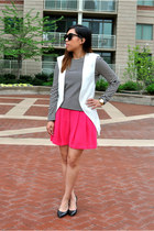 white Zara vest - black madewell shirt - hot pink Zara shorts