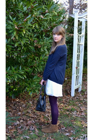 brown fringe Minnetonka boots - ivory H&M dress - navy Gap sweater