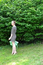 black striped H&M dress - aquamarine Expressions NYC bag