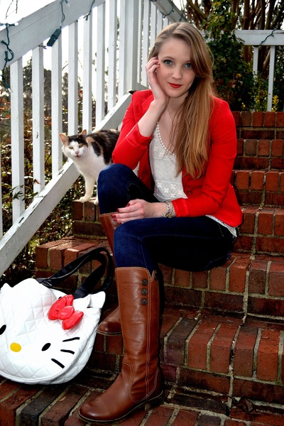 brown Sofft boots - red H&M blazer - ivory lace TJ Maxx top