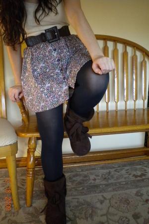 blue American Apparel stockings - pink Forever 21 skirt - brown Steve Madden sho