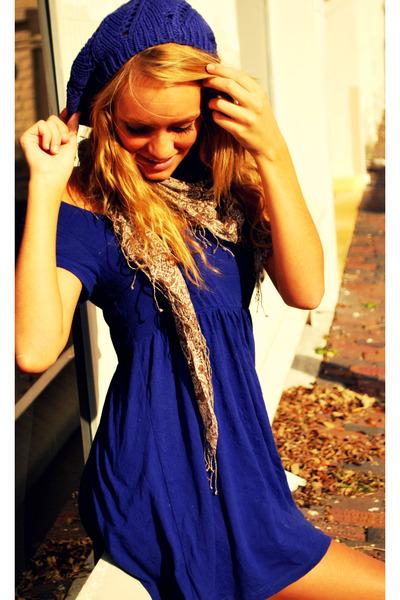 purple dress - brown scarf - purple hat