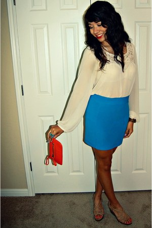 Target bag - Forever 21 skirt - Report wedges - Forever 21 blouse - ring