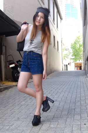 blue studded denim shorts - navy Rubi shoes clogs - heather gray cut-out top - c