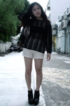 black buckled boots - black crochet December no5 sweater - cream knitted shorts