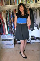 light brown Target belt - blue Olsenboyle dress - black Steve Madden flats