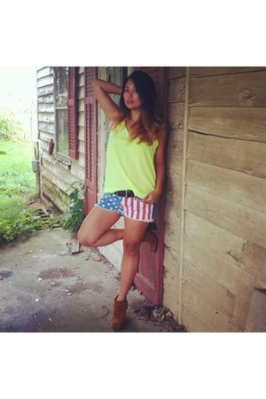 booties LF boots - neon green tank unknown shirt - bullhead black shorts