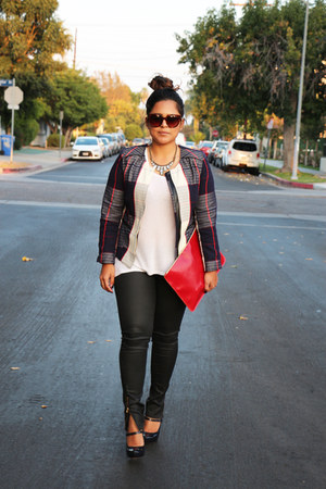 ruby red Target jacket - ruby red American Apparel bag - tawny Celine sunglasses