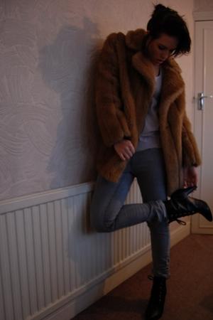 Topshop vest - Topshop jeans - vintage coat - H&M boots