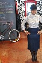 vintage boots - riding hat vintage hat - vintage skirt - vintage blouse