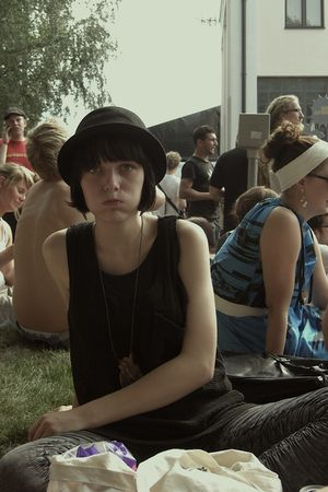 gray just female leggings - brown titiMadam necklace - black Monki hat - black j