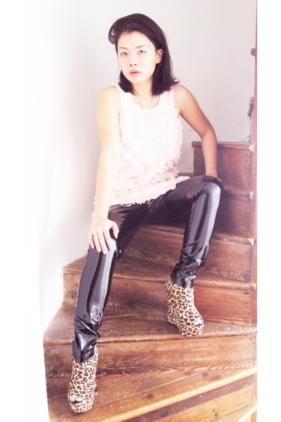 black dress - Topshop leggings - Ashish for Topshop shoes
