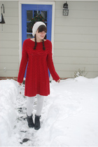 red Victorias Secret dress - white accessories - black thrifted boots