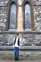 black thrifted vest - white thrifted blouse - blue Levis jeans - black hand-me-d