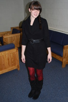 black Old Navy dress - black thrifted belt - red unknown leggings - black Urban