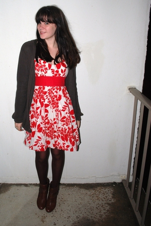 thrifted dress - Victorias Secret sweater - Target stockings - Kelly & Katie boo