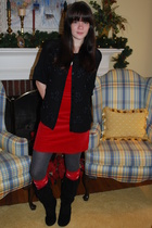 black thrifted sweater - red H&M dress - gray tights - red socks - black boots