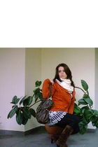 beige scarf - orange cardigan - blouse - black leggings - brown boots - brown pu
