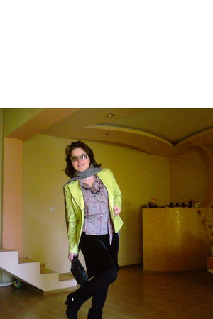 gray scarf - black purse - black skirt - green jacket - purple shirt - black boo