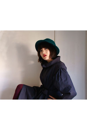green vintage hat - gray vintage coat - purple stockings - black vintage shoes