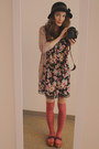 Black-floral-dress-black-urban-outfitters-hat-coral-american-eagle-socks