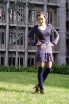 navy floral tunic Urban Outfitters shirt - navy thigh high Charter Club socks -
