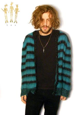 turquoise blue acrylic wool vintage cardigan