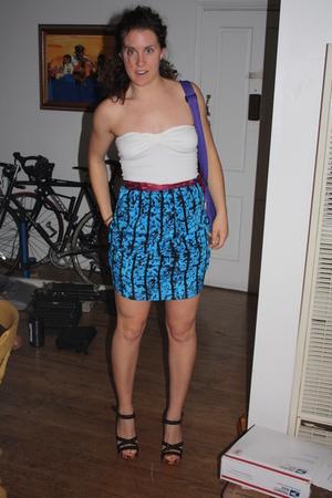 blue skirt - white top - purple purse