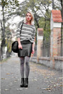 Black-ankle-h-m-boots-charcoal-gray-stripes-thrifted-sweater