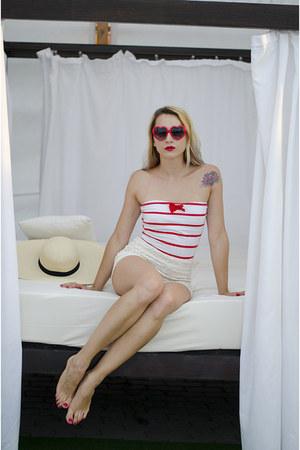 eggshell straw hat H&M hat - off white crochet LuLus shorts - red tube Zara top