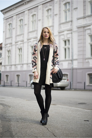 black thifted dress - peach Sheinside cardigan