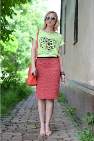 red Zara bag - lime green nowIStyle shirt - ruby red nowIStyle skirt