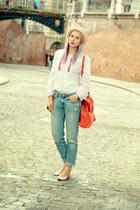 white romanian blouse vintage blouse - blue boyfriend H&M jeans